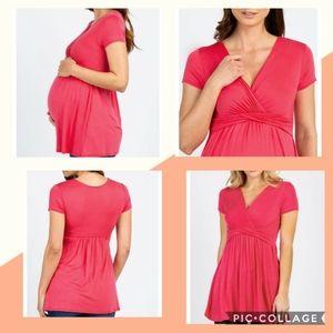 Pink Blush Maternity Nursing Top Large
